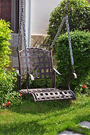 International Caravan 523772-OG-165266-O-852765 Iron Single Patio Swing Chair, Hammered Bronze