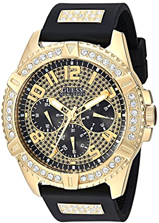Guess Comfortable Gold Tone Black Stain Resistant Silicone Watch With Crystal Embellished Day Date 24 Hour Military Int L Time Color Black