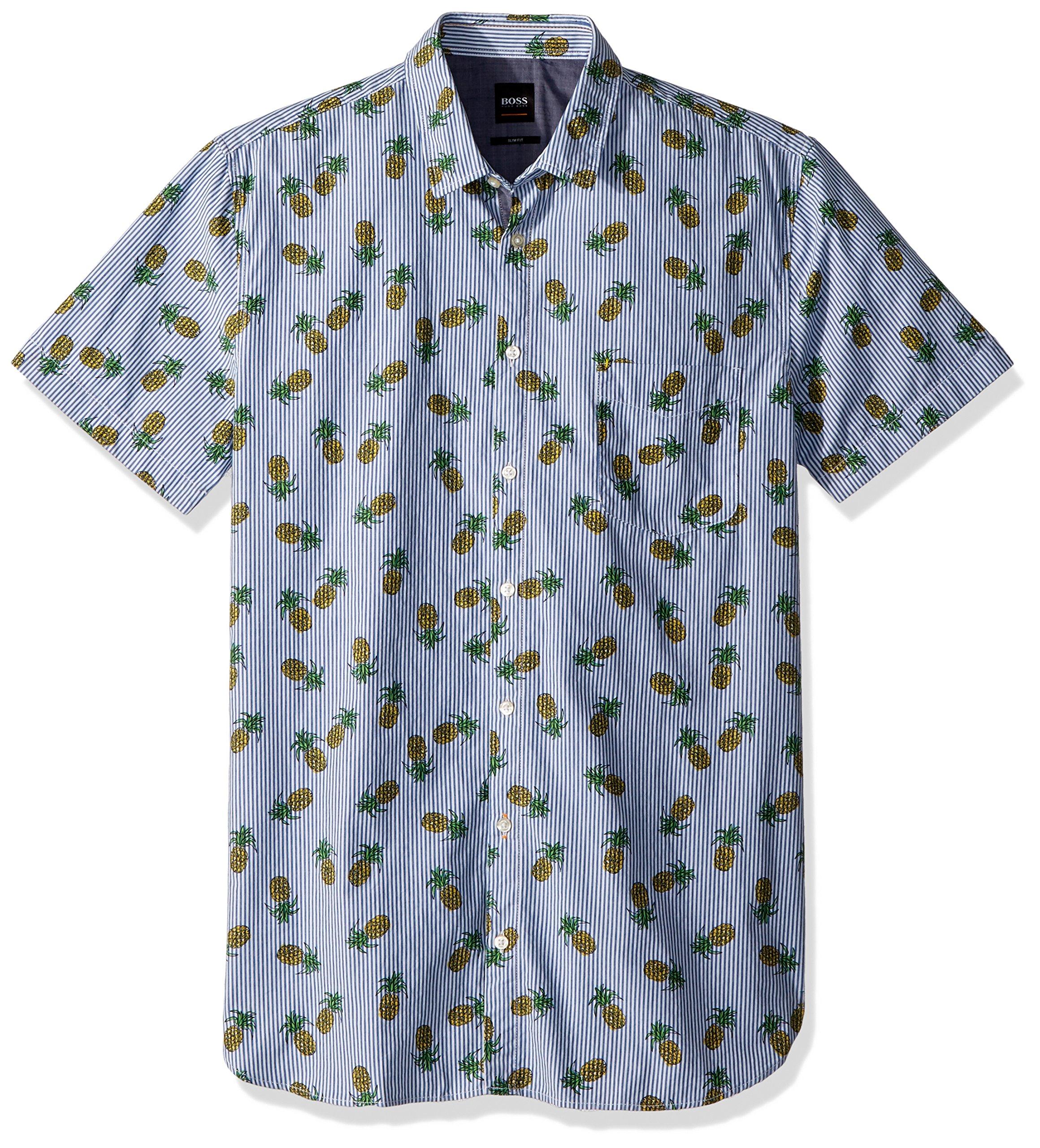 Hugo Boss Boss Orange Men's Short Sleeve Stripe Shirt with Pineapple Design, Blue, XXL