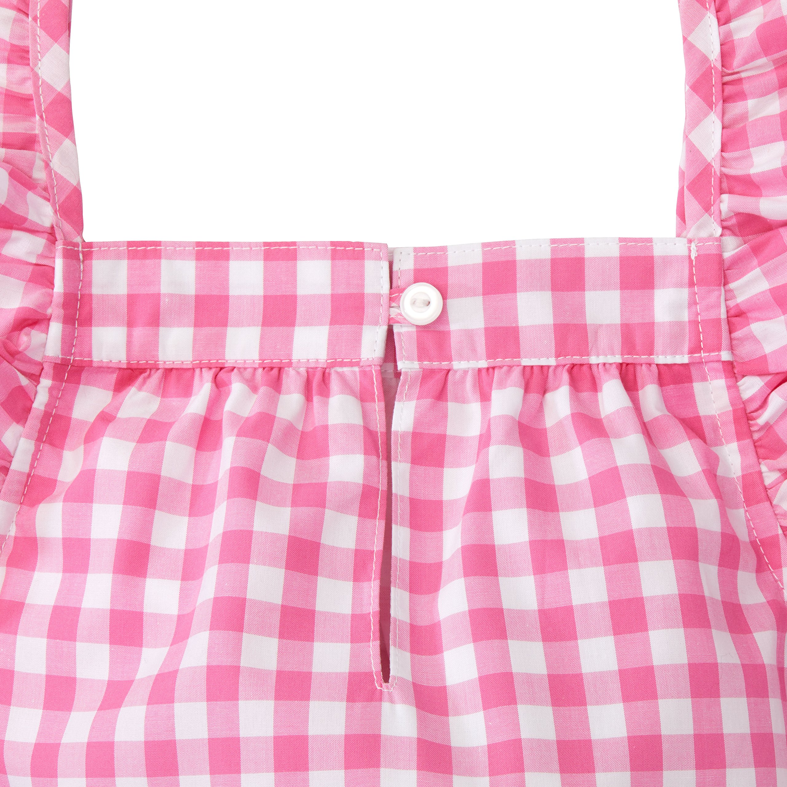 Hope & Henry Girls' Pink Gingham Frill Sleeve Woven Dress Made with Organic Cotton by Hope & Henry (Image #4)