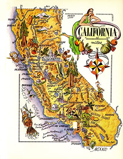 graphic about California State Map Printable identify : 1940s Classic California Region Map Basic