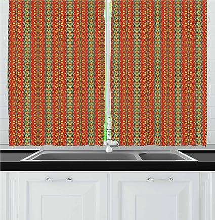Amazon Com Ambesonne Boho Kitchen Curtains Ethnic Oriental
