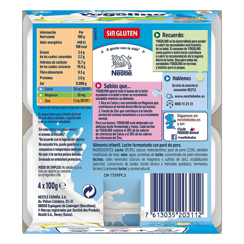 Nestlé iogolino Alimento infantil, leche fermentada con puré de pera - Paquete de 4 x 100 gr - Total: 400 gr: Amazon.es: Alimentación y bebidas