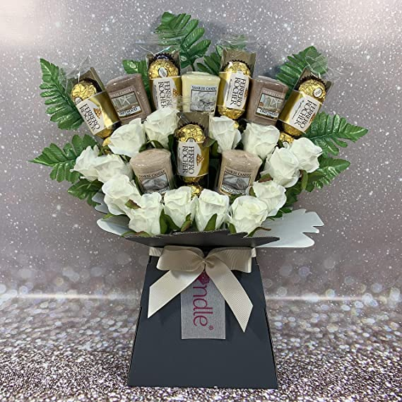 Yankee Collection Scented Candle Silk Red Roses /& Ferrero Rocher Chocolate Bouquet Gift Set Celebrate Gifts Ltd