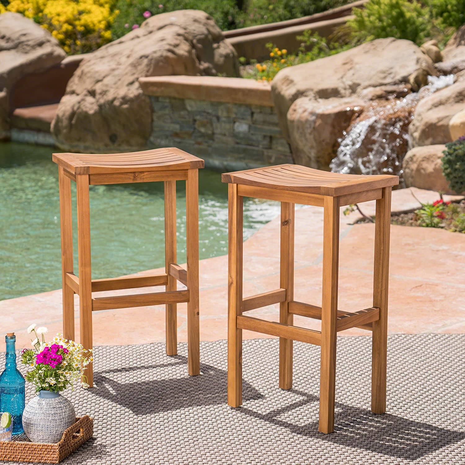 """Christopher Knight Home 304142 Caribbean Outdoor 30"""" Natural Finish Acacia Wood Barstools (Set of 2), Stained"""