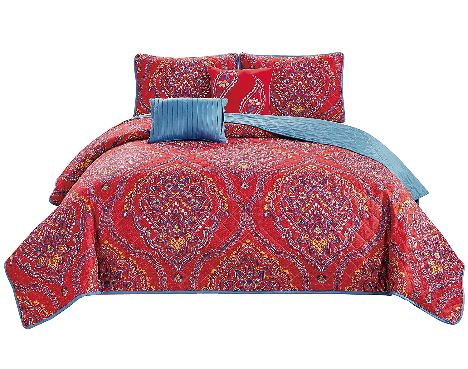 King RT Designers Collection Jayna 5-Piece Quilt Set Red//Blue//Yellow//White