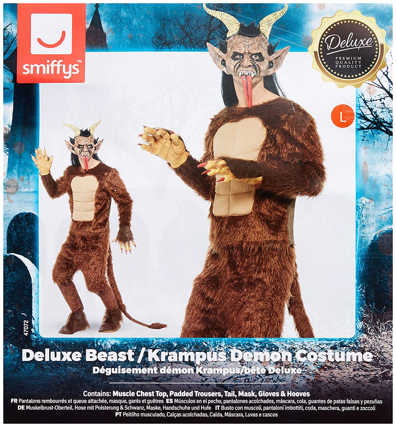 Amazon.com: Smiffys Mens Beast/Krampus Demon Costume, Long Pile Fur: Clothing