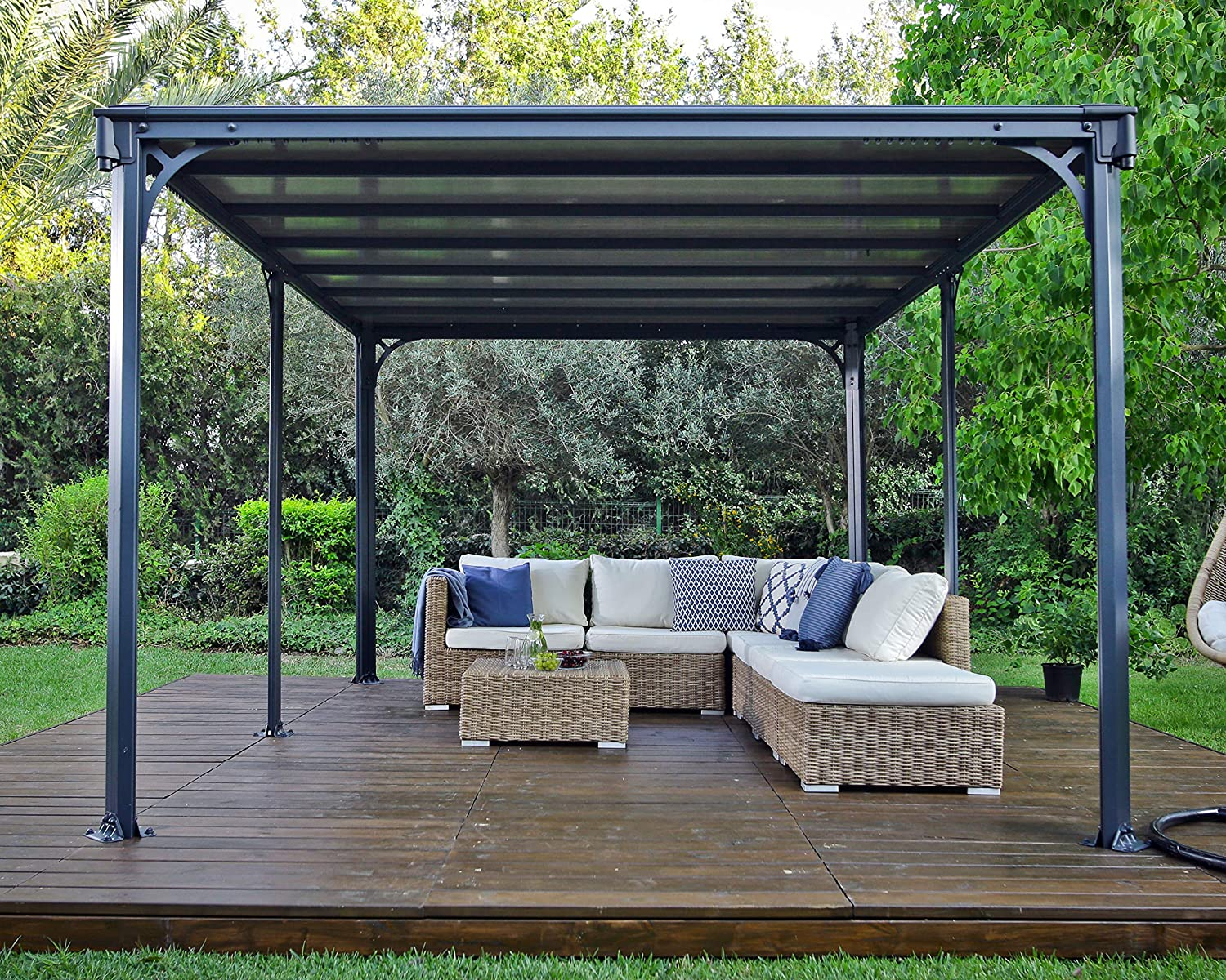 Milano Garden Gazebo., Color Gris, tamaño 426 x 309 x 225 cm, 361 x 65 x 16centimeters: Amazon.es: Jardín