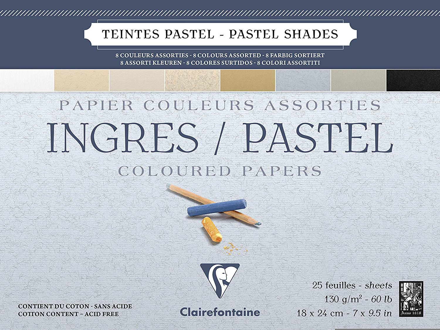 Clairefontaine : Ingres Glued Pastel Pad 18x24cm : 25s : Neutral Colours Rhodia 96486C