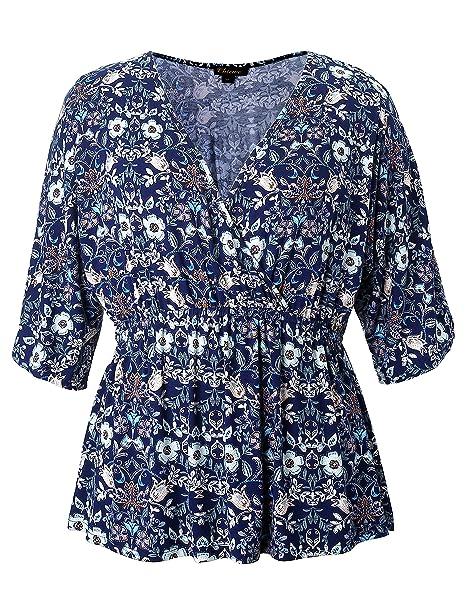 Chicwe Mujeres Tallas Grandes Elástico Kimono Camiseta Corte Cruzado Falso Wrap Top - Blusa Casual en