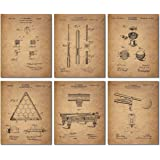 Billiards Patent Wall Art Prints - Set of 6 Vintage Pool Historical Photos