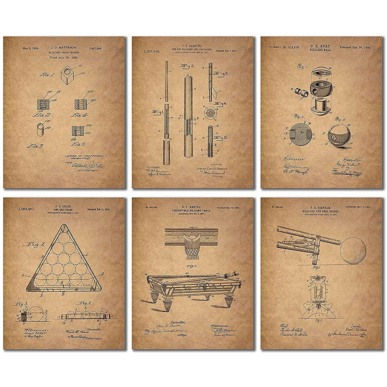 amazon com: billiards patent wall art prints - set of 6 vintage pool  historical photos: posters & prints