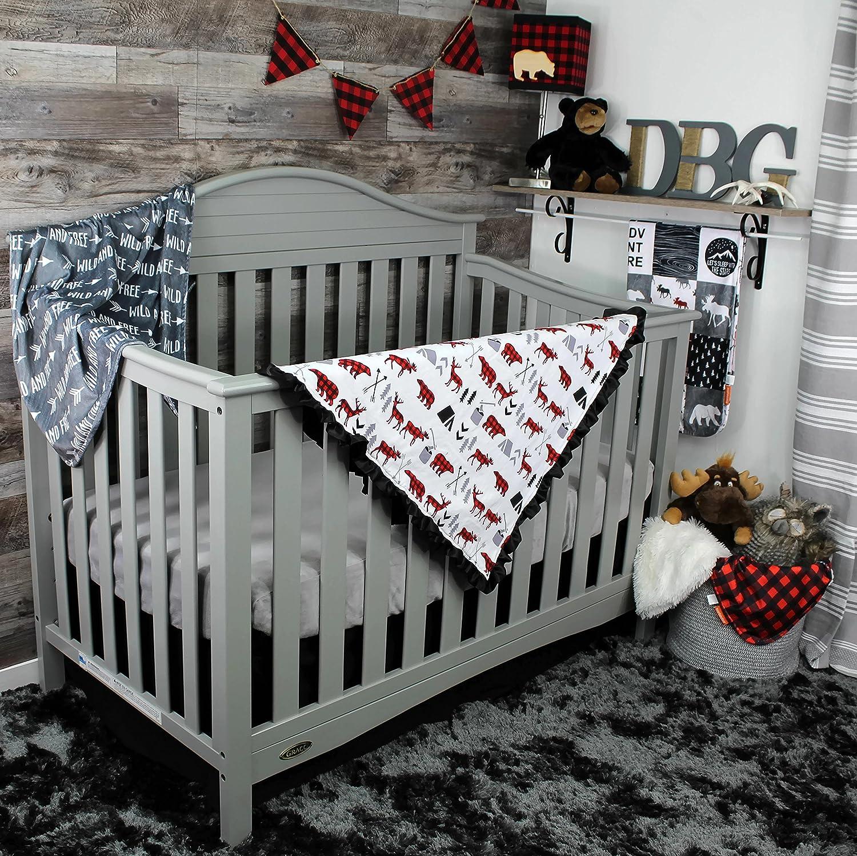 Dear Baby Gear Baby Blankets Woodland Bear Moose Plaid No Ruffle DBG Minky Grey