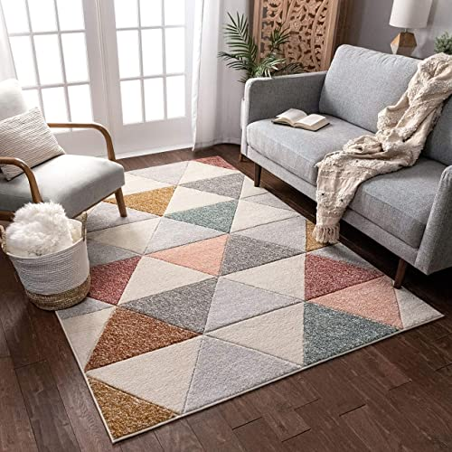 Well Woven Suave Angles Dusty Pink Red Copper Blue Grey Modern Geometric Hand Carved 5×7 5'3″ x 7'3″ Area Rug Easy to Clean Stain Fade Resistant Thick Soft Plush