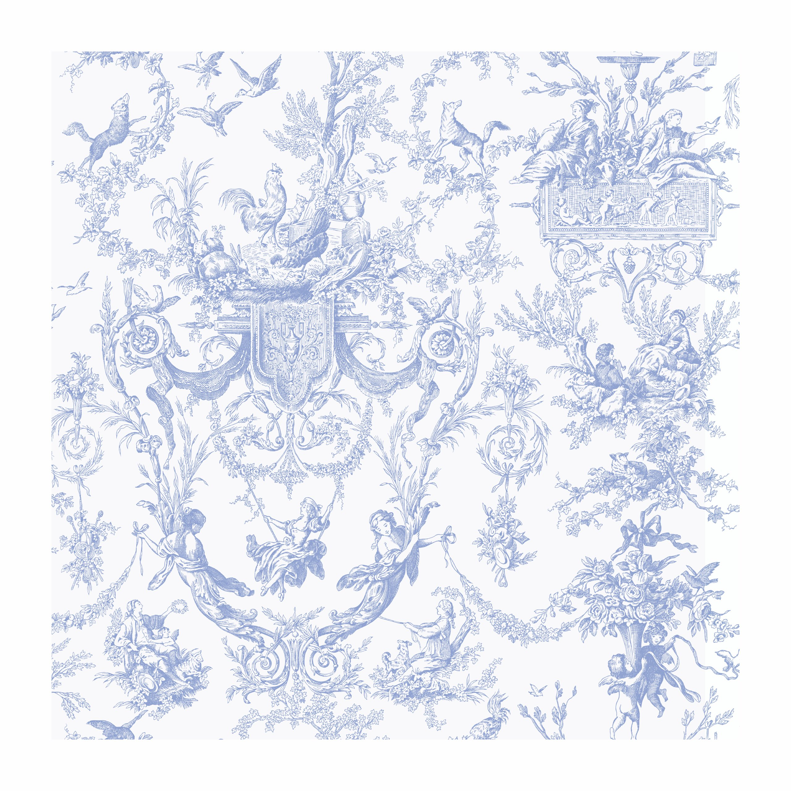 York Wallcoverings AT4241 Ashford Toiles Old World Toile Prepasted Wallpaper, White/Blue by York Wallcoverings
