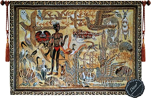 Beautiful Animals and Aboriginal of Australia Outback Fine Tapestry Jacquard Woven Wall Hanging Art Decor