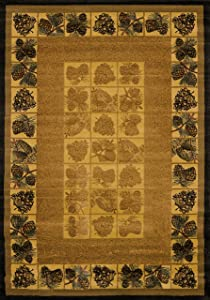 United Weavers of America Genesis Collection Pine Cones Heavyweight Heat Set Olefin Rug, 3-Feet 11-Inch by 5-Feet3-Inch, Natural