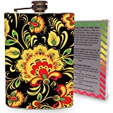 Floral Flask 8oz Stainless Steel Hip Flasks Spirits Whiskey Liquor Vodka Wedding Flasks Flowers Vintage Retro Modern Gift Box