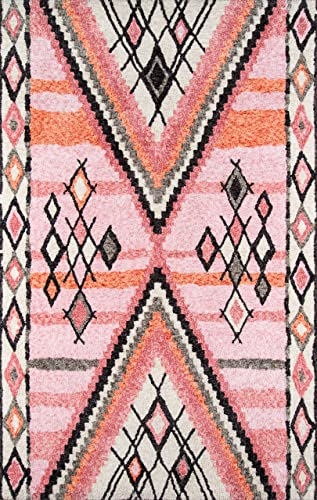 Momeni Rugs Margaux Table Tufted Contemporary Geometric Area Rug, 3 6 x 5 6 , Pink