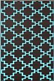 """Green Decore 150 x 240 cm """"Solitude"""" Intérieur Extérieur / Léger / réversible Eco Tapis, Châtaigne / Bleu Aqua Sky"""