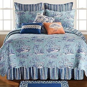 C&F Home Hampstead Toile Full/Queen Quilt Full/Queen Quilt Blue