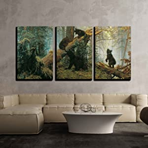 """wall26 - Black Bears in Forest Painting - Canvas Art Wall Decor -16""""x24""""x3 Panel"""