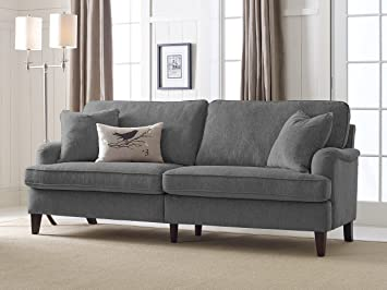 Serta Carlisle Sofa With Pleated Arms, 85u0026quot;, ...