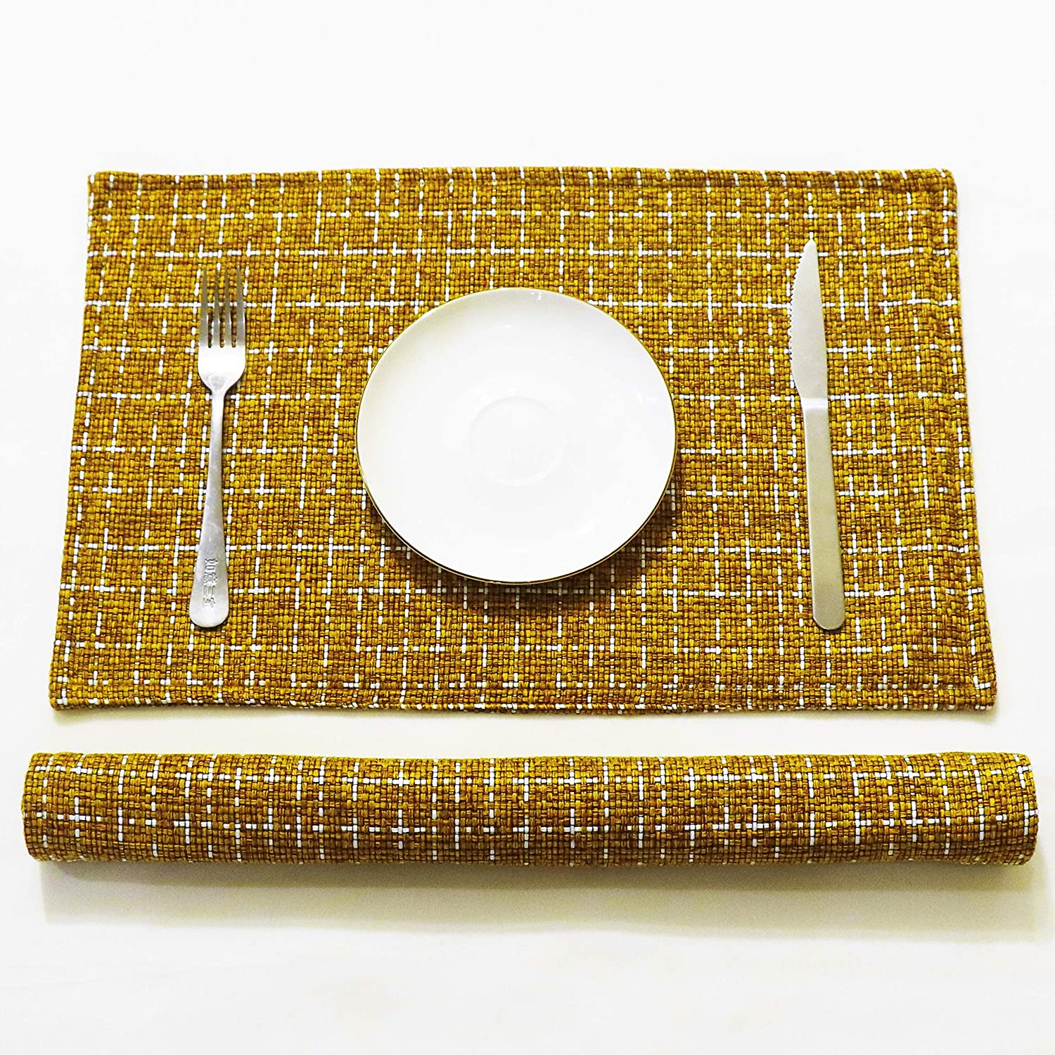SLOW COW Linen Placemats Heat Resistant Dining Table Place Mats Kitchen Washable Table Mats Set of 2, Brown Mustard: Home & Kitchen