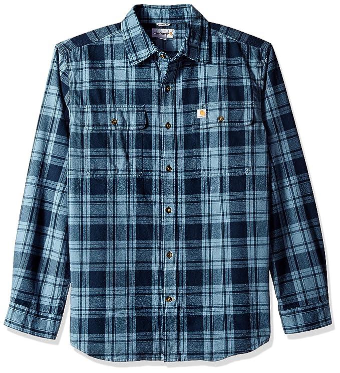 Carhartt Men's Hubbard Plaid Flannel Shirt, Steel Blue, Medium best men's plaid shirts