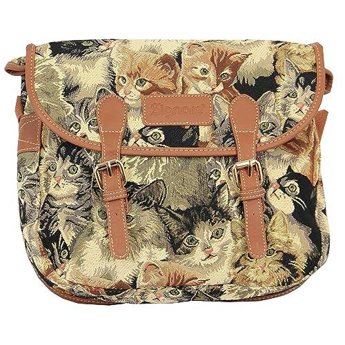 Bolso tapiz de hombro de moda Signare para mujer bolso messenger Gato: Amazon.es: Zapatos y complementos