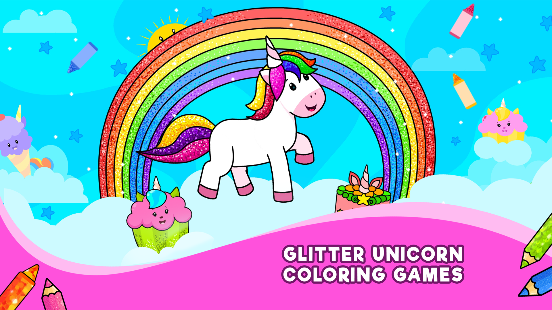 Amazon Com Unicorn Coloring Games For Kids Rainbow Glitter Coloring Pages Drawing Book For Girls Boys Appstore For Android