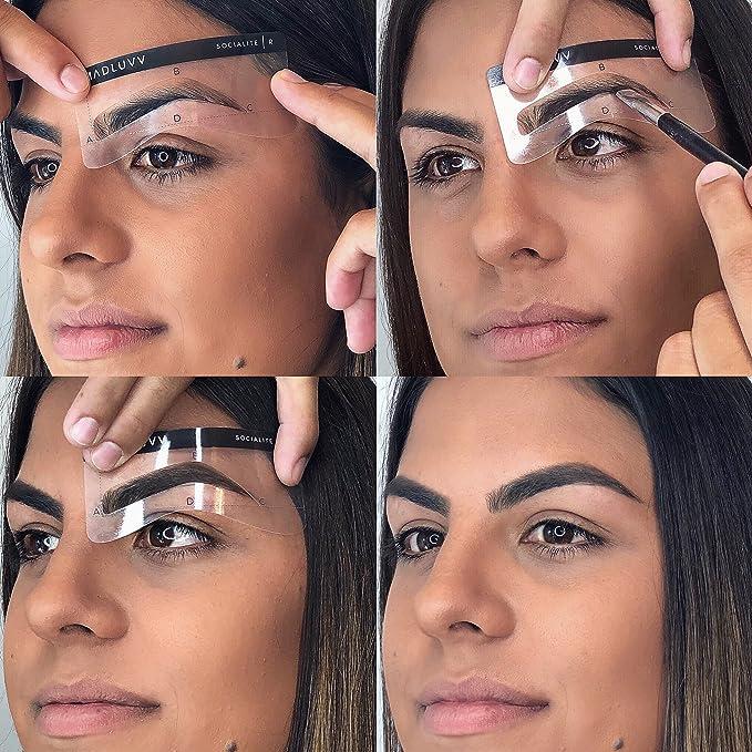 Juego De Plantillas Para Moldear Cejas Juego De 6 Plantillas De Plástico Reutilizables Para Tatuajes Semipermanentes Y Artistas De Maquillaje Cejas Más Gruesas Y Más Completas Beauty