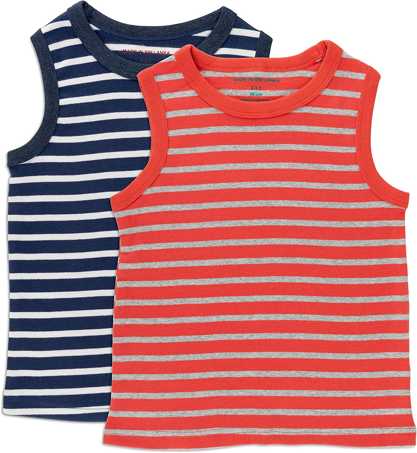 Navy and White Striped Print 6 /& 7 Years 3 5 Sizes 2 2 Pack Boys Sleeveless Shirt Red and Gray Striped Print 4 Jos White Boys Tank Top