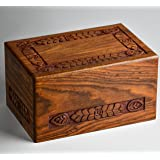 STAR INDIA CRAFT Rosewood Urns for Human Ashes Adult, Wooden Funeral Urns, Hand Carved Pet Cremation Urns for Dogs Ashes,Saint Jackson Keepsake Urn Box for Ashes (Modern, X-tra Small - 12 Cu/In)