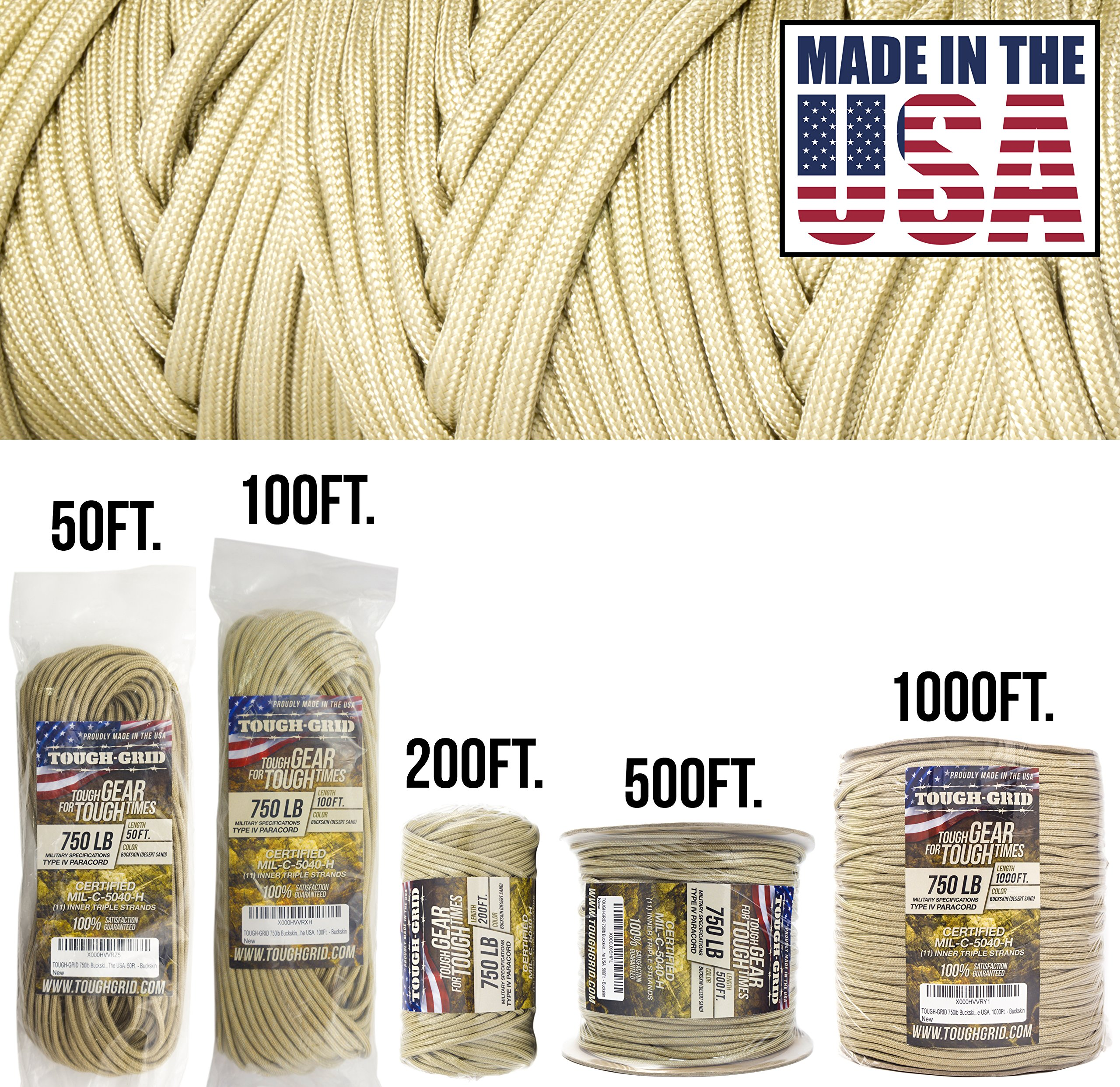 TOUGH-GRID 750lb Buckskin (Desert Sand) Paracord/Parachute Cord - Genuine Mil Spec Type IV 750lb Paracord Used by The US Military (MIl-C-5040-H) - 100% Nylon - Made in The USA. 200Ft. - Buckskin by TOUGH-GRID (Image #1)