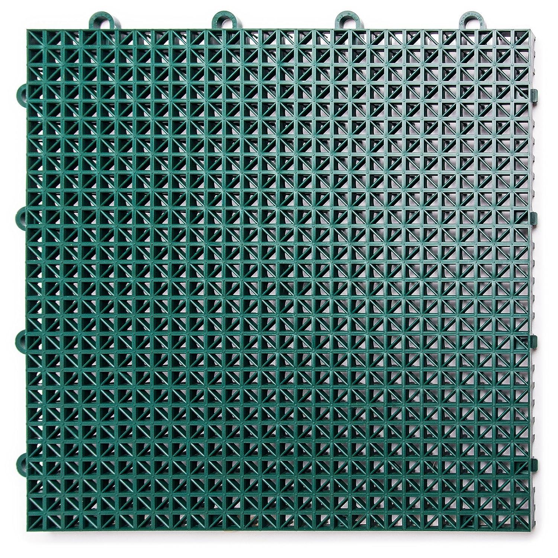 DuraGrid DT40EVGN Outdoor (40 Pack) Modular Interlocking Multi-Use Deck Tile, Evergreen, Piece