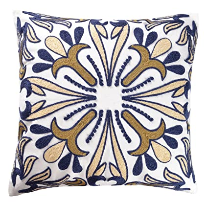 ButiShop Cotton Embroidery Pillows Decorative Throw Pillows,Starfish Pillow Cover Cushion Cover for Living Room 18x18 Inch,