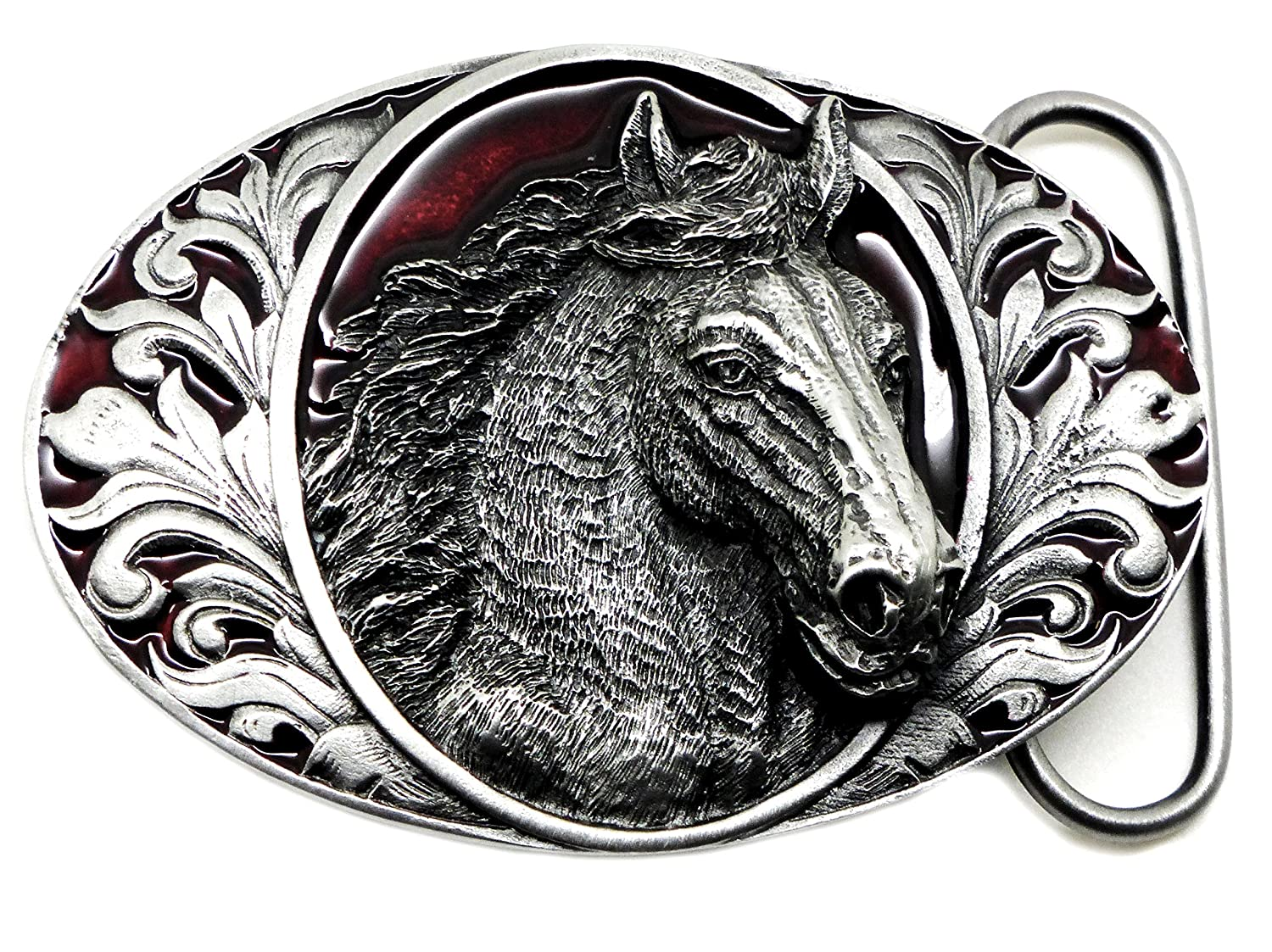 3D Horse Head Belt Buckle With Floral Patterned Background Authentic Bergamot Branded Product BER I 76 E