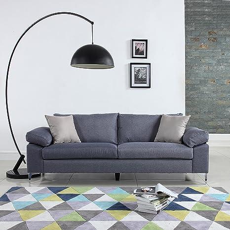 Amazon.com: DIVANO ROMA FURNITURE Modern Linen Fabric Sofa ...