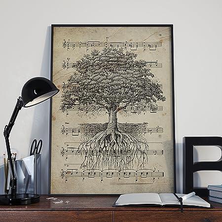 Nacnic Lámina Poster Arbol de la Vida Vintage de partituras ...