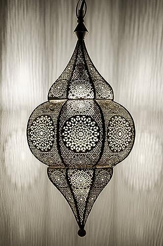 Lámpara Oriental Marroquí - lamparilla colgante - farola de techo Malha Plateado - 50cm - muy práctica para una iluminación excelente - transmite una ...