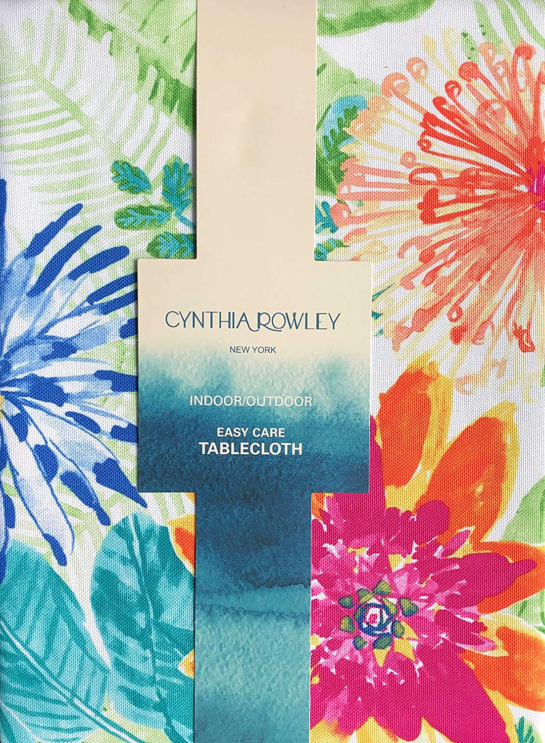 Cynthia Rowley Tablecloth Vivid Bright Summer Tropical Jungle Floral Pattern, Indoor/Outdoor Easy Care - Tortuga Floral, 70 Inches Round