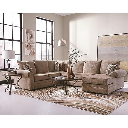Coaster Home Furnishings 501149 Living Room Sectional Sofa Cream Herringbone