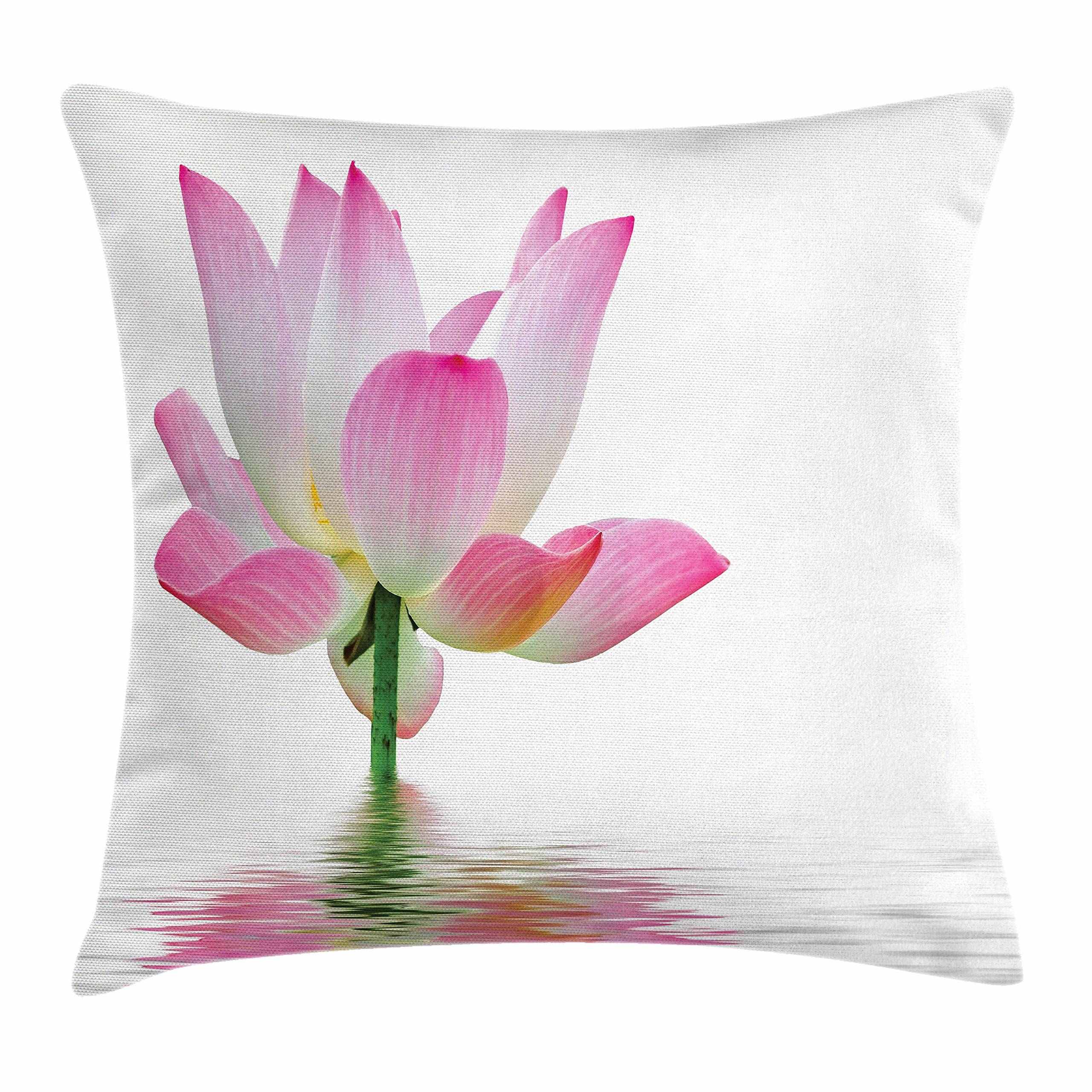 Ambesonne Pink and White Throw Pillow Cushion Cover, Lotus Flower in Freshwater Aquatic Nature Relaxation and Spa Theme, Decorative Square Accent Pillow Case, 36 X 36 inches, Pink White Green