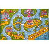 "Kev & Cooper Playtime Collection Girls Road Map Educational Area Rug - 5'0"" x 6'6"""