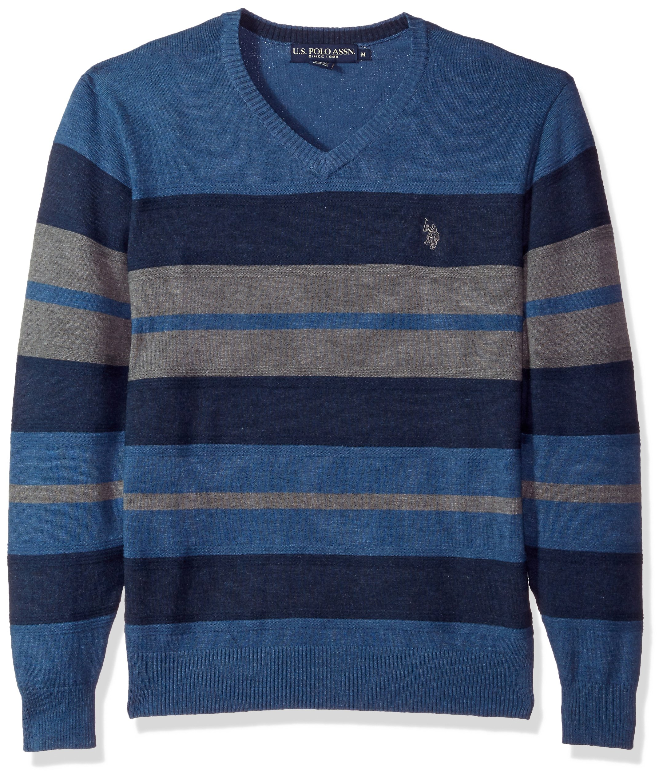 U.S. Polo Assn. Men's Stretch Textured Stripe V-Neck Sweater, Pacific Heather, XX-Large