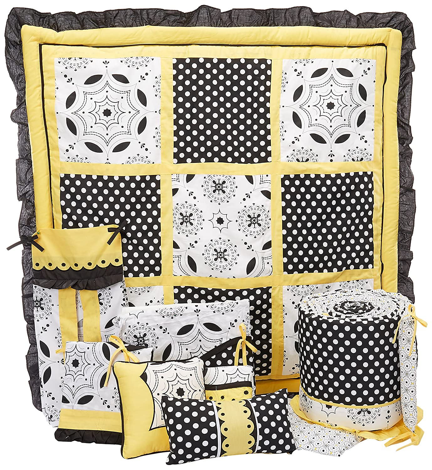 Leigh gender neutral 10pc owl baby crib bedding set grey yellow green - Dk Leigh Crib Nursery Bedding Set Elegant Girl Yellow 10 Piece Amazon Ca Baby
