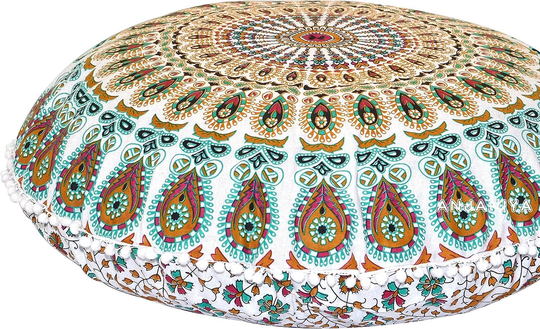 """Anjaniya -32"""" Peacock Mandala Bohemian Yoga meditation floor pillow"""
