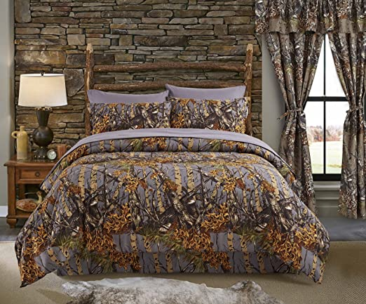 12 PC MIXED SIZE GRAY CAMO KING COMFORTER with QUEEN SHEETS /& CURTAIN SET