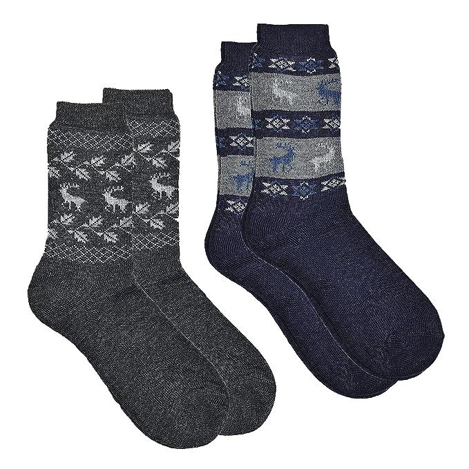 2 pares de Noruego Country de calcetines con lana de oveja, noruego de dessins,